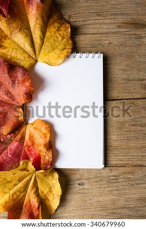 autumn leaves and white paper for a message on a shabby wooden table