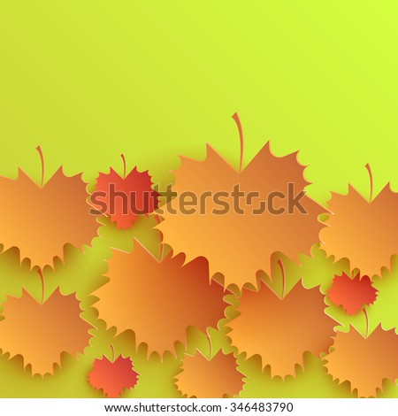 Autumn leaves background design pattern. Leaf and season nature, fall plant, maple foliage, brown bright, seasonal natural frame, pattern floral, autumnal flora illustration. Raster version - stock photo
