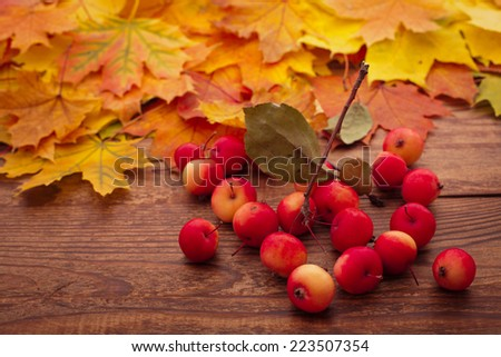 Autumn leaves end  apples on wooden table. - stock photo