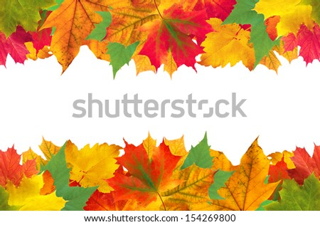 Autumn leaves frame over white for your text - stock photo