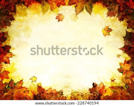 autumn leaves golden frame background texture - stock photo