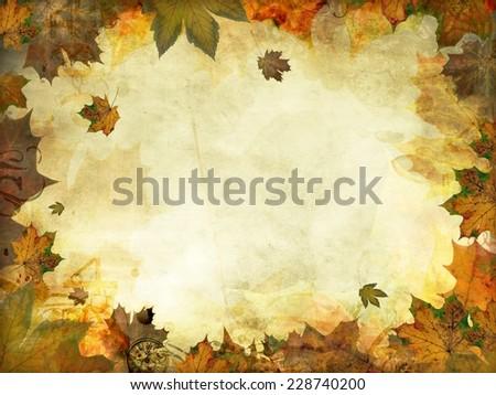 autumn leaves melancholy vintage background texture - stock photo