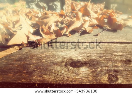 Autumn leaves on a wooden surface (soft focus). Cross processed image for vintage and vignette blur look. shallow depth of field