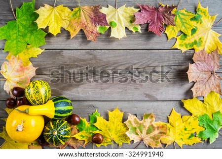 Autumn leaves on the wooden background with pumpkin and chestnut and copy space for your design - stock photo