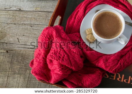 Autumn lifestyle - hot chocolate, tray, warm blanket, rustic wood background, top view - stock photo