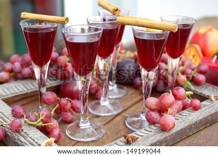 autumn liqueur grape plum and ...