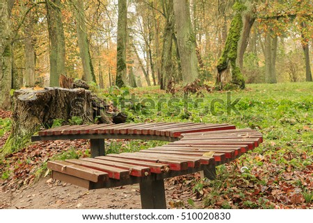 Autumn. Lonely bench.
