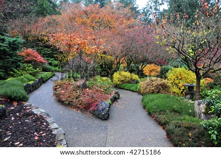 Autumn look of the beautiful japanese garden inside the historic butchart gardens (over 100 years in bloom), victoria, british columbia, canada