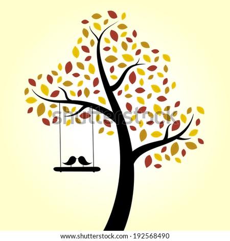 Autumn love birds tree swing - stock photo