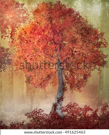 Autumn magic forest - 3D and digital painted illustration