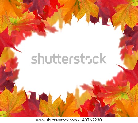 autumn maple leaves frame isolated on white background - stock photo