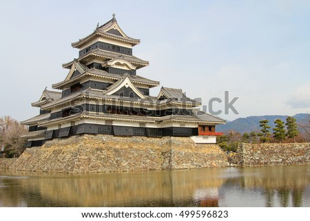autumn, Matsumoto castle with a lake in the prefecture of Nagano, Japan