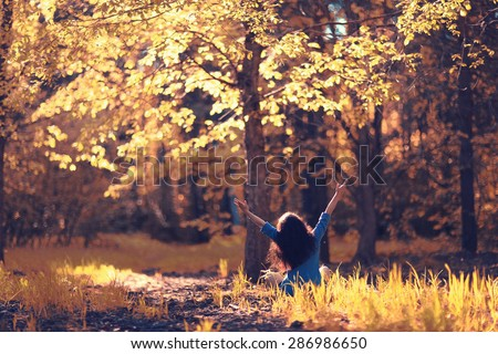 Autumn meditation nature girl forest - stock photo