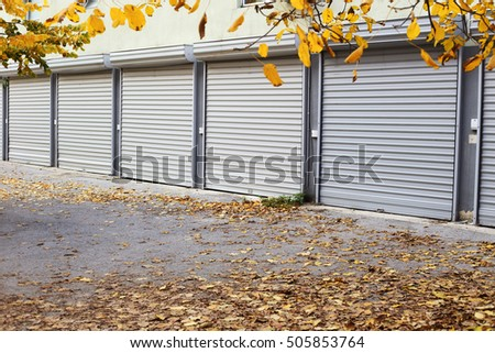 autumn metal doors of garages