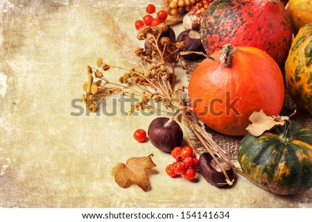 Autumn mini pumpkins, berries, chestnuts and dry flowers over old textuded background - stock photo