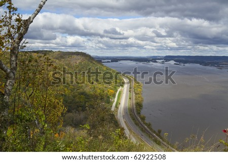 Autumn Mississippi River Vista - stock photo