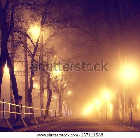 autumn mist in city - stock photo