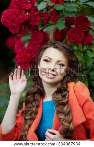 Autumn model, bright make up. woman on background fall landscape leaves of trees. Girl Model on autumn season. Fashion people
