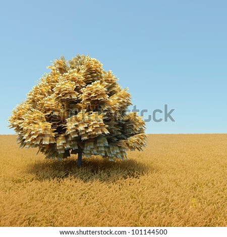 Autumn money tree in the middle of wheat field - stock photo