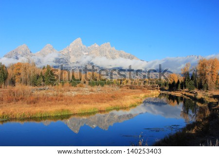 Autumn morning in Grand Teton National Park, Wyoming, USA.