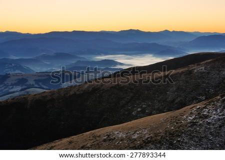 Autumn morning over the village, Ukraine, Carpathian mountains - stock photo
