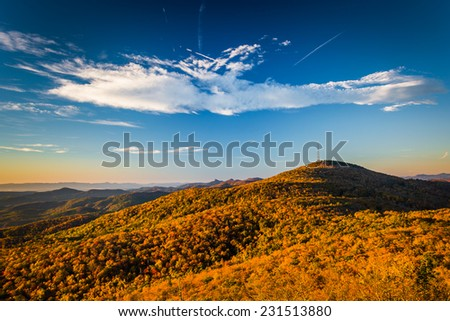 Autumn morning view from Beacon Heights, along the Blue Ridge Parkway, North Carolina. - stock photo