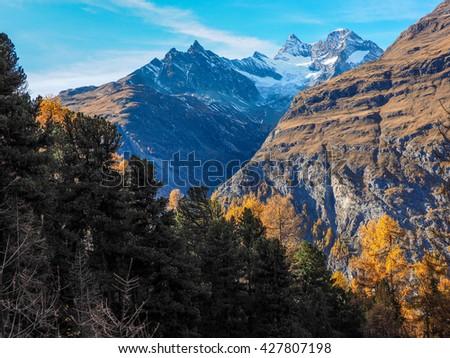 autumn mountain landscape near Saint Moritz - Engadin Switzerland - stock photo