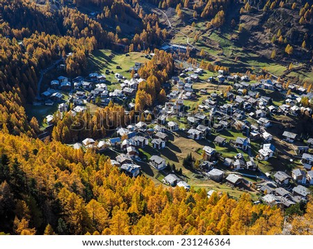 autumn mountain landscape near Zermatt in Switzerland - stock photo