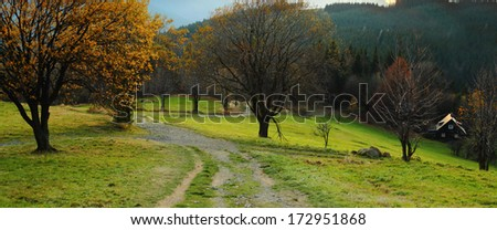 Autumn mountain landscape with a path - Moravian-Silesian Beskydy - stock photo