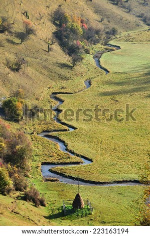 Autumn mountain landscape with a small meandering water stream - stock photo
