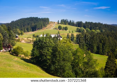 Autumn mountain landscape with clear blue sky - Moravian-Silesian Beskydy - stock photo