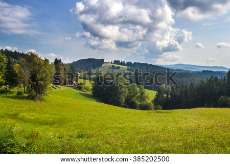Autumn mountain landscape with clouds on sky - Moravian-Silesian Beskydy