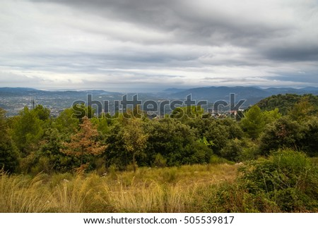 Autumn mountain landscape with trees at Grasse, France