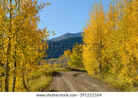 Autumn Mountain Road - Autumn morning on a remote high mountain pass. Kebler Pass, Crested Butte-Gunnison, Colorado, USA. - stock photo