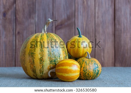 Autumn nature concept. Fall fruit and vegetables on wood. Thanksgiving dinner. - stock photo