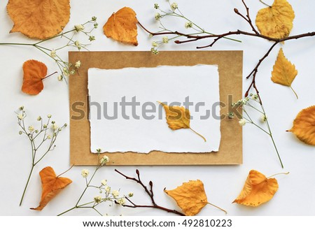 Autumn note craft empty paper card stock photo 492810223 for Craft paper card stock