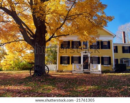 Autumn, old house - stock photo
