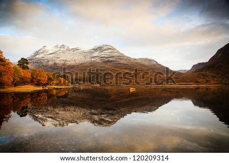 Autumn on Loch Maree, Scotland - stock photo