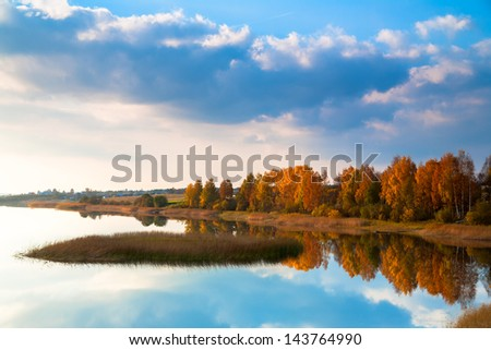 Autumn on the lake near the Ferapontov monastery. Russia - stock photo
