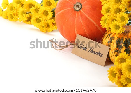 Autumn or Thanksgiving Border,Pumpkins and yellow flowers on white background - stock photo