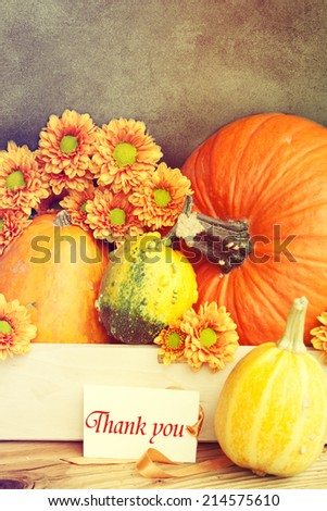 Autumn or Thanksgiving Bouquet with pumpkins.