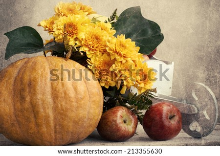 Autumn or Thanksgiving Bouquet with pumpkins and leaves - stock photo
