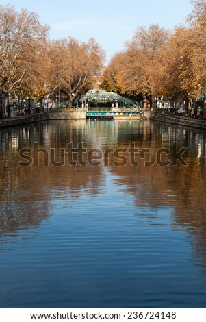 Autumn over canal Saint Martin,Paris, France.