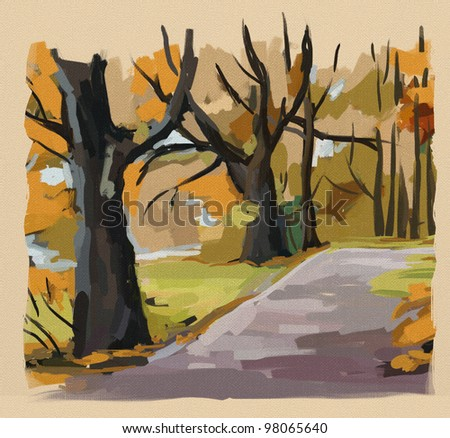 Autumn park with old oaks, digital sketch in oil style - stock photo