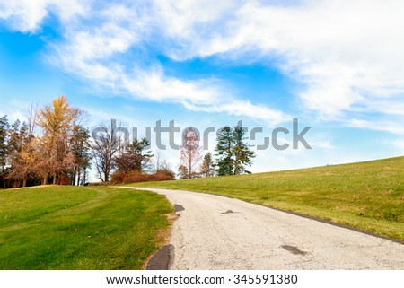 Autumn Path at Bryn Athyn Historic District in Pennsylvania
