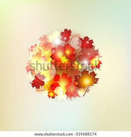 Autumn pattern with colorful translucent leaves. The circle of autumnal maple leaves gold. - stock photo