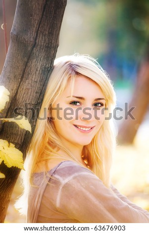 autumn portrait - stock photo