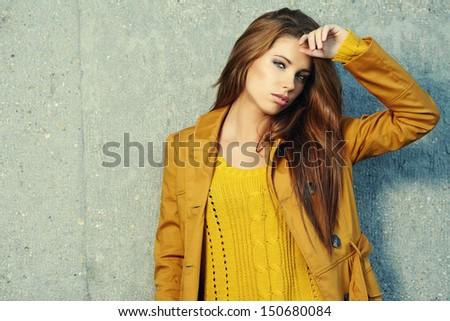 Autumn portrait of a beautiful woman  - stock photo