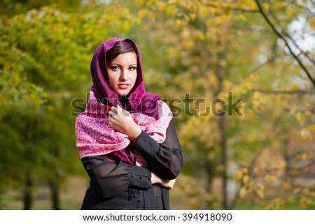 Autumn portrait of girl with shawl. - stock photo