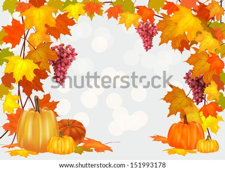 Autumn pumpkin holiday, postcard ,grapes